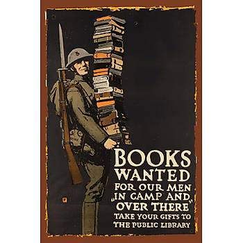 Books Wanted Retro Ahþap Poster 30x20