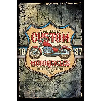 Motorsiklet Custom Retro Ahþap Poster 30x20