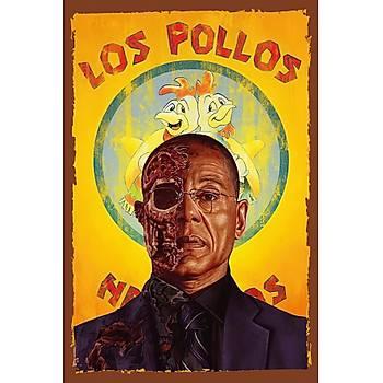 Los Pollos Retro Ahþap Poster 30x20