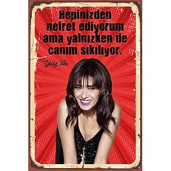 Yýldýz Tilbe 2 Retro Ahþap Poster 30x20