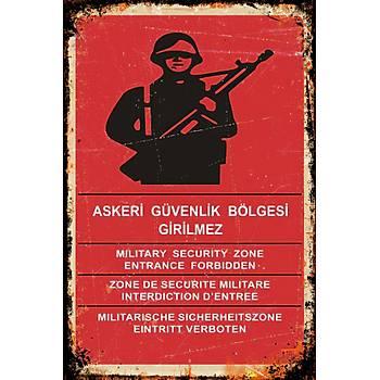 Güvenlik Bölgesi Retro Ahþap Poster 30x20