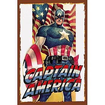 Kaptan Amerika 2 Retro Ahþap Poster 30x20