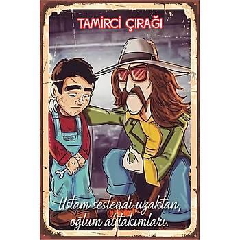 Tamirci Çýraðý Retro Ahþap Poster 30x20