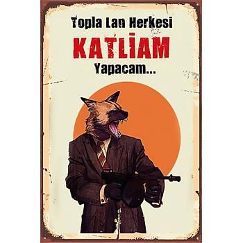 Katliam Retro Ahþap Poster 30x20