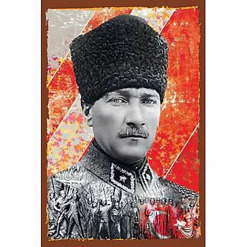 Atatürk Retro Ahþap Poster 30x20