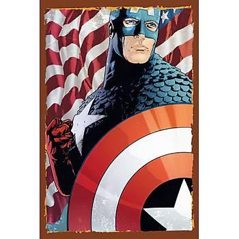 Kaptan Amerika Retro Ahþap Poster 30x20