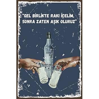 Aþýk Oluruz Retro Ahþap Poster 30x20