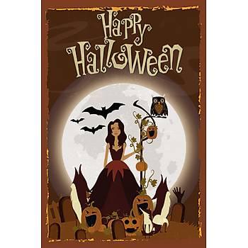 Happy Halloween Retro Ahþap Poster 30x20