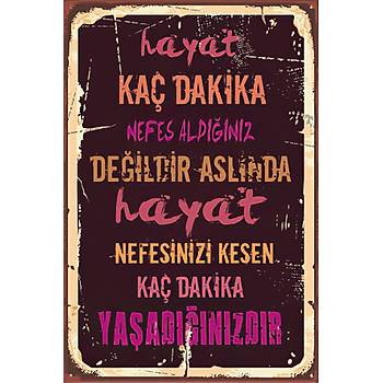 Hayat Kaç Dakika Retro Ahþap Poster 30x20