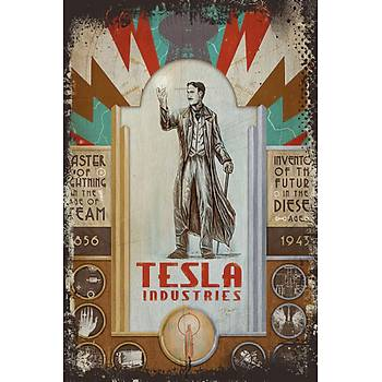 Tesla 2 Retro Ahþap Poster 30x20