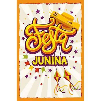 Junina Retro Ahþap Poster 30x20