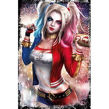 Harley Quinn Retro Ahþap Poster 30x20