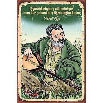Ahmet Kaya 2 Retro Ahþap Poster 30x20