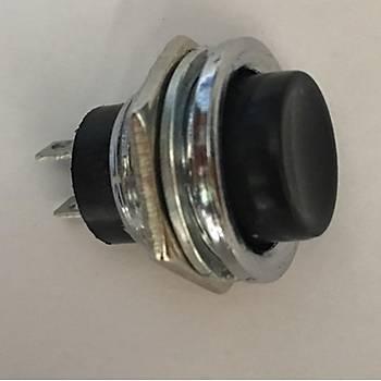 16mm Push Buton Siyah Metal