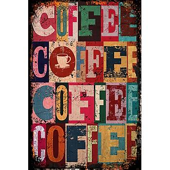 Coffee Retro Ahþap Poster 30x20