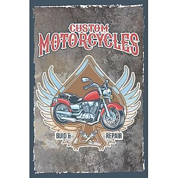 Motorsiklet Retro Ahþap Poster 30x20