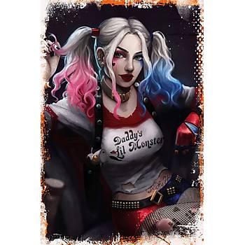 Harley Quinn 2 Retro Ahþap Poster 30x20