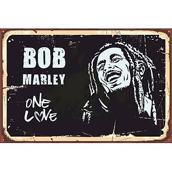 Bob Marley Retro Ahþap Poster 30x20