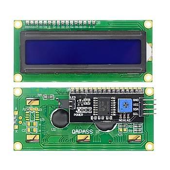 16x2 LCD Ekran - I2C Lehimli 1602 Mavi Display