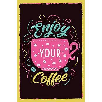 Enjoy Coffee Retro Ahþap Poster 30x20