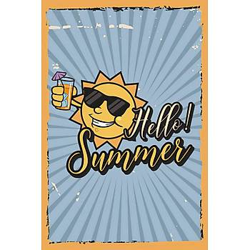 Hello Summer Retro Ahþap Poster 30x20