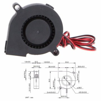 5015 12V DC Salyangoz Fan 3D Printer ve Bilgisayar