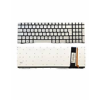 Asus N550J Uyumlu Laptop Klavye Iþýklý Gümüþ TR