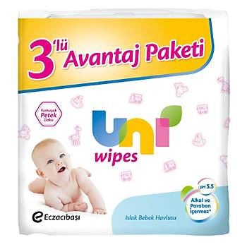 Uni Wipes 60 l1 Islak Havlu Mendil - 3 lü Paket