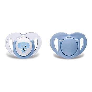Mamajoo Silikon Ortodontik Ýkili Emzik Mavi Fil / 0 ay +