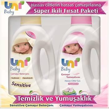 Uni Baby Sensitive Bebek Çamaþýr Deterjaný 1500 ml + Bebek Çamaþýr Yumuþatýcýsý 1500 ml