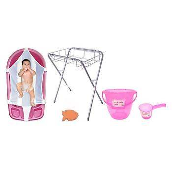 Sema Baby Lüks Bebek Banyo Seti 6 Parça - Pembe
