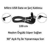 Mikro USB Android Þarj Data Veri Kablosu 100 cm Naylon Örgülü Sað Dirsek Açý Soket