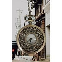 Klasik Kuvars Köstekli Cep Saati Bronz Antika Kolye Zincirli Solfage T Desenli