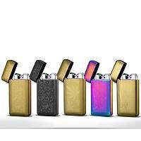 Çift Ark Plazma Alevsiz Çakmak USB Þarjlý Güvenli Yeþil Lacer Sensör Gold Paisley