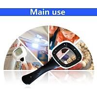 10X HD Lens 55mm 5 LED 1 UV Iþýklý Kare El Büyüteç Okuma Kauçuk Çerçeve