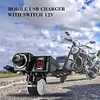 Motosiklet Tekne Atv  Karavan Telefon Çift Usb Hýzlý Þarj Voltmetre Anahtarýlý Çakmaklý
