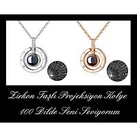 Zirkon Taþlý Projeksiyon Ring Kolye 100 Dilde Seni Seviyorum