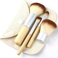 Doðal Bambu Saplý 5 Parça Kozmetik Toz Allýk Makyaj Fýrça Set