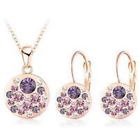 Kolye Küpe Set Purple Passion Avusturya Kristal Rose Gold Altýn Kaplama
