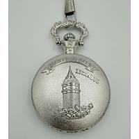 Klasik Kuvars Köstekli Cep Saati Silver Antika Kemer Zincirli Galata Kulesi Desenli
