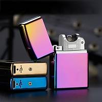 Tek Ark Elektronik Plazma Çakmak Rüzgar Geçirmez USB Þarjlý Alevsiz Çakmak