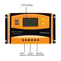 60A 12 V-24 V PWM Güneþ Enerjisi Solar Þarj Regülatörü Kontrolör Çift USB LCD Ekran