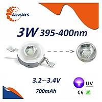 3W UV Boncuk Power Led 395-400nm 700 mAh Ø 8mm 3.2-3.4V