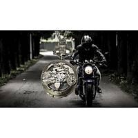 Kuvars Köstekli Mini Cep Saati Kolye Silver Motorsiklet Desen