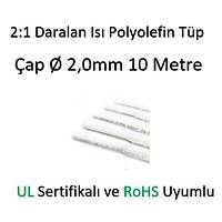 Polyolefin Isý Shrink Tüp 2:1 Daralan Makaron Boru Çap Ø2,0mm 10 x 1 Metre