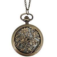 Klasik Kuvars Köstekli Cep Saati Bronz Antika Kolye Zincirli Ivy Garden Desenli