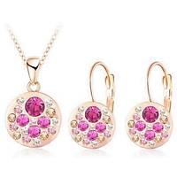 Kolye Küpe Set Pink Passion Avusturya Kristal Rose Gold Altýn Kaplama