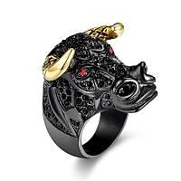 Boða Yüzük Rhinestone Taþlý Black Bull Gold Horn 316L Paslanmaz Çelik