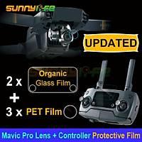 Dji Mavic Pro HD 3x Kamera Lens Koruyucu Film 2x Kumanda Ekran Organik Cam Filmi