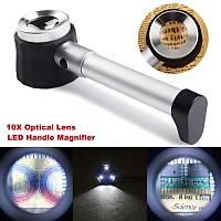 10X Optik Ölçekli Metal El Büyüteç Cam Lens 3 LED Iþýklý Fermuarlý EVA Çantalý